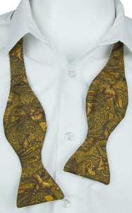 Self-Tie Elegant Pheasant on Gold Fine Silk Bow Tie