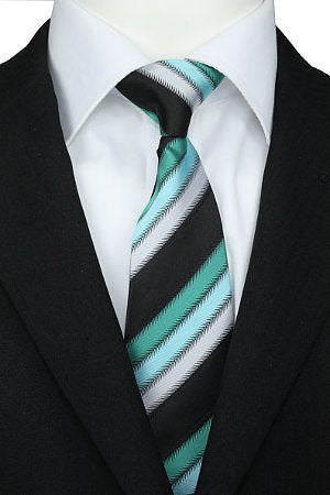 Green and Blue Diagonal Lines Striped Clip-On Tie