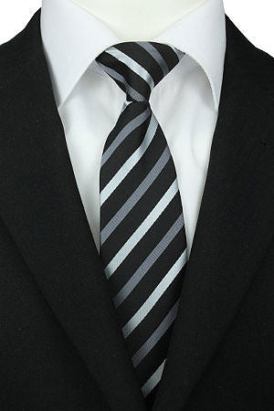 Grey Two Tone Striped Clip-On Tie