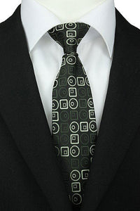 Green Circles & Squares Clip-On Tie