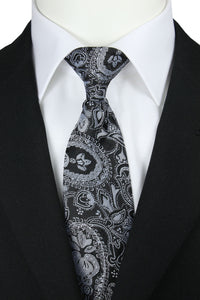 Silvered Black Floral Paisley Clip-On Tie