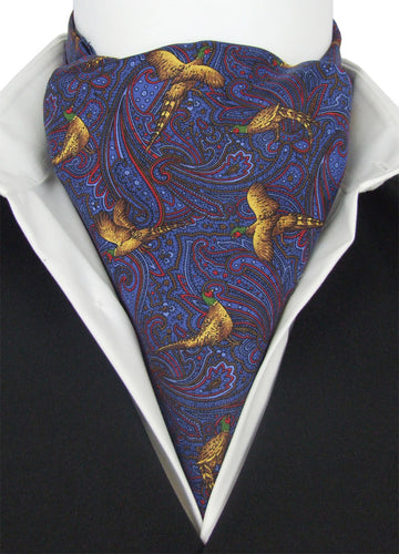 Elegant Pheasant on Blue Fine Silk Cravat