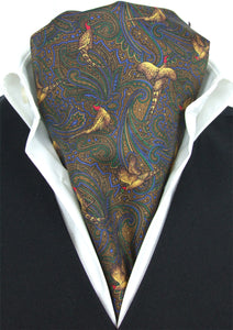 Elegant Pheasant on Brown Fine Silk Cravat