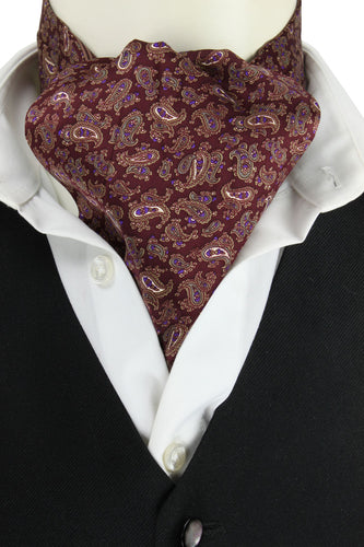 Wine Reversible Striped Cravat
