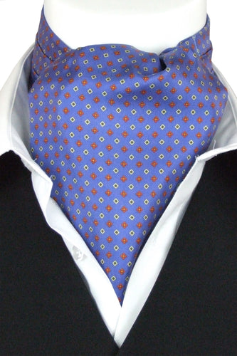 Quadrato on Blue Fine Silk Cravat