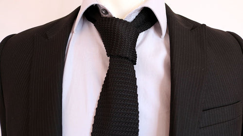 Bernard Lowe (Westworld) Black Knitted Square-End Tie