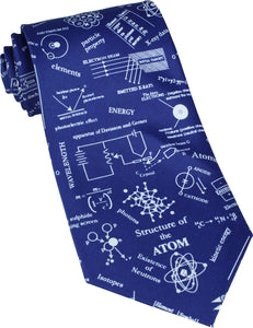 Structure of Atom on Blue Novelty Tie