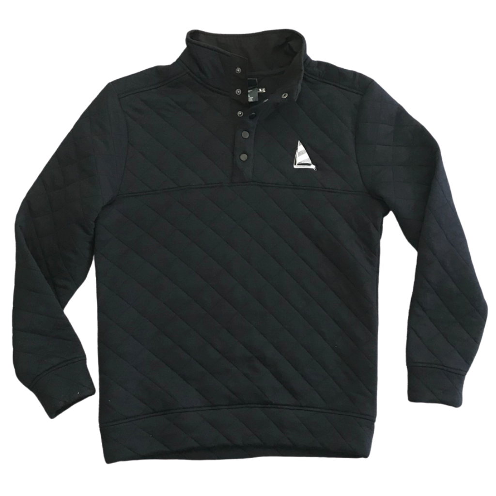 Quilted Sailboat Pullover-Navy