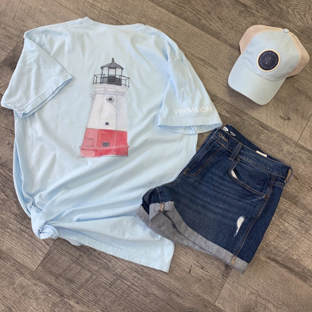 Vermilion Lighthouse Short Sleeve Pocket Tee-Light Blue