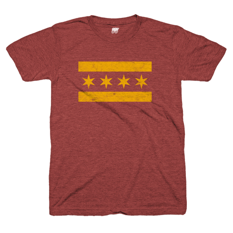 maroon and gold chicago flag tee