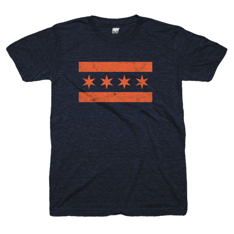 blue and orange chicago flag t shirt