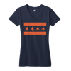 Chicago Flag v-neck t-shirt women's navy blue and orange | Bandwagon Champs