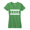 Chicago Flag vneck t-shirt women's green and white | Bandwagon Champs