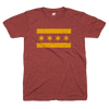 Chicago Flag tshirt maroon and gold | Bandwagon Champs