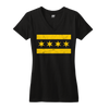 Chicago Flag vneck shirt women's black and yellow | Bandwagon Champs