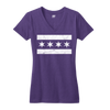 Chicago Flag v-neck tshirt women's purple and white | Bandwagon Champs