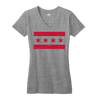 Chicago Flag vneck tshirt women's gray and red Bandwagon Champs