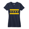 Chicago Flag vneck shirt women's navy blue and yellow | Bandwagon Champs
