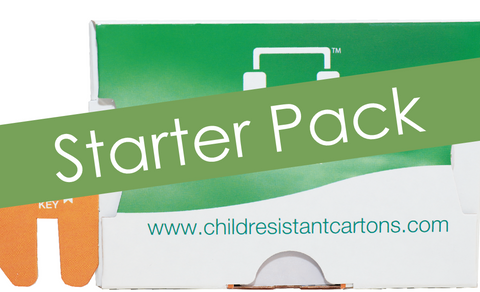 Starter Pack: 4 Child Resistant folding boxes, inch 3.52x0.86x6.35