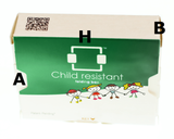 Custom printed Child Resistant folding boxes, 10000 pieces, inch 2.80x0.83x3.98