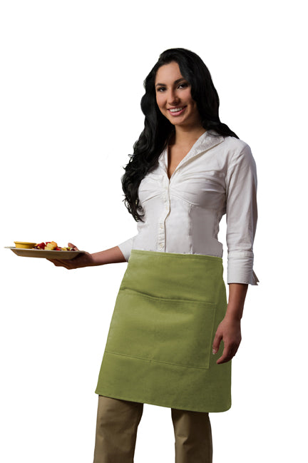 Premium Half Bistro Apron with Center Divided Pocket