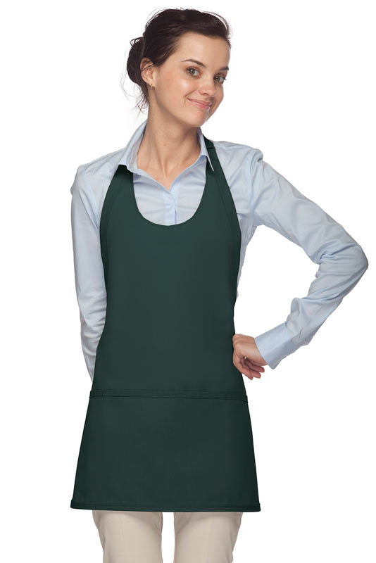 Premium Three Pocket Scoop Neck Apron Adj Neck