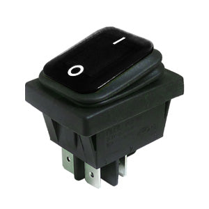 Interruptor Basculante Rectangular Estanco 16A Negro IP65, 30mm x 22mm