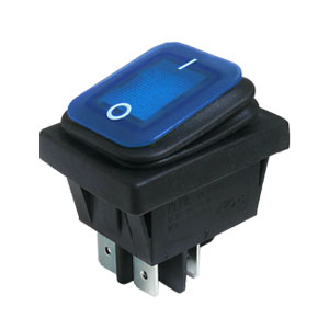 Interruptor Basculante Rectangular Estanco Iluminado 16A Azul IP65, 30mm x 22mm