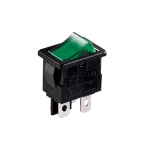 Interruptor Basculante Rectangular Iluminado Mini 13A Verde, 19mm x 13mm