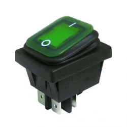 Interruptor Basculante Rectangular Estanco Iluminado 16A Verde IP65, 30mm x 22mm