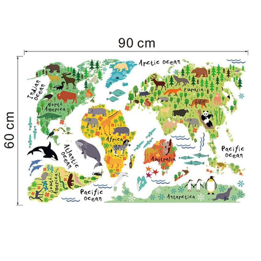 Animal world map wall sticker stickers for kids rooms bedroom animal world map wall sticker stickers for kids rooms bedroom cartoon home decor living rooom carte gumiabroncs