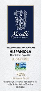 Single Origin Craft Chocolate  - HISPANIOLA  Sugar Free - 2 OZ Bar
