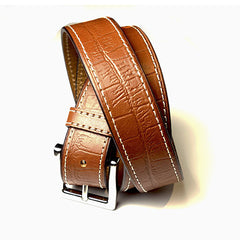Croc Belt - Cognac Stitch