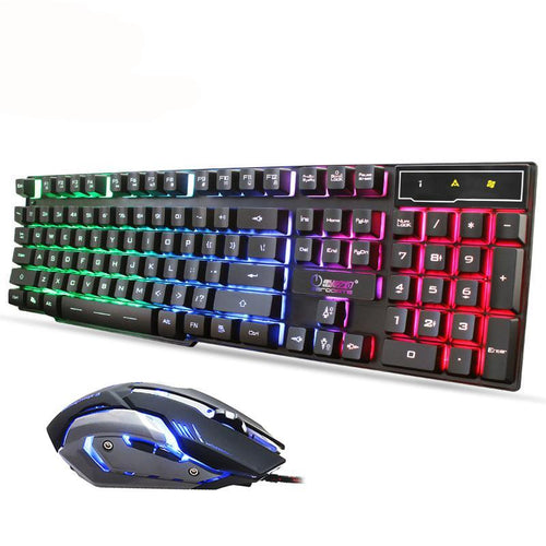 Keyboard and Gaming Mouse Combo Set Kit Breathe Backlit Waterproof Gamer Player Keyboard with Illuminated 3200 DPI Mouse for PC