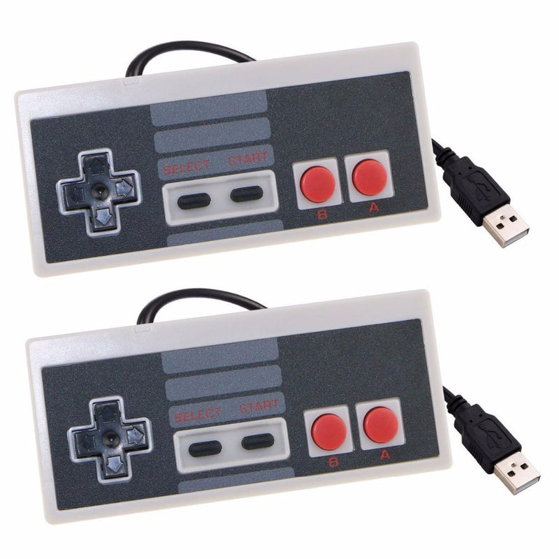 2pcs Wired USB Controller Gaming Joypad Joystick For Nintend NES Mini Classic Edition For PC Window 7/8/10 Raspberry Pi For Mac