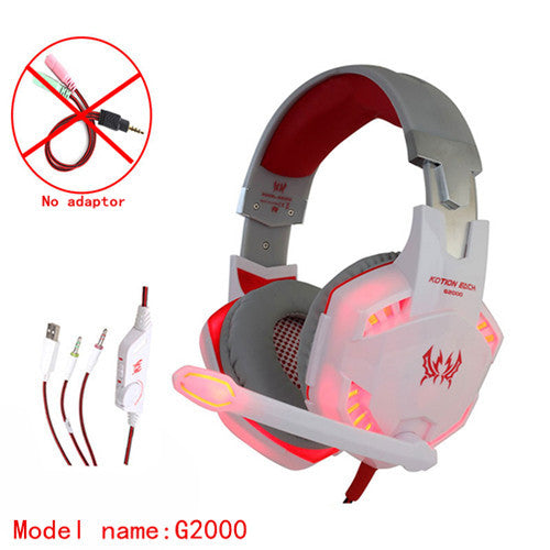 KOTION EACH stereo gamer gaming headset ps4 pc headphones for computer with microphone LED Light Deep Bass Earphone