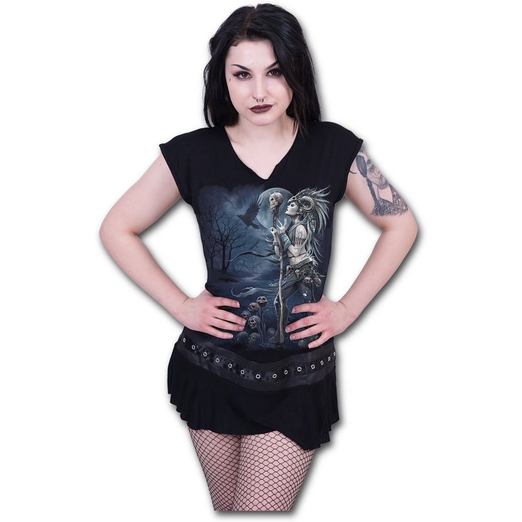 Spiral Mini Dress Gothic Rock Stud Waist Women/'s Black
