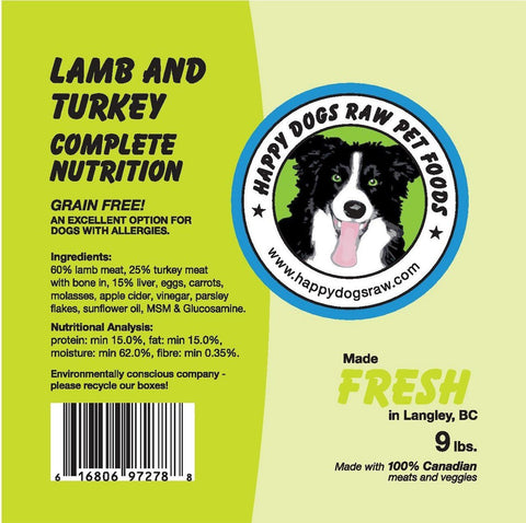 Happy Dogs Lamb & Turkey Complete Nutrition Blend - Naturally Urban Pet Food Delivery