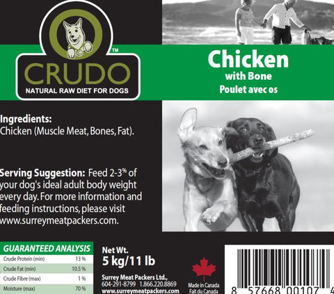 Crudo Chicken with Bone  20 or 40 x 1.1 Lb tubes