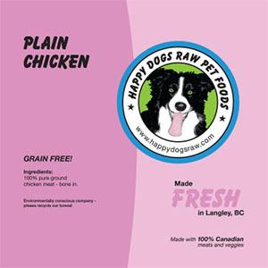 Happy Dogs Plain Chicken - Ground with bone-in
