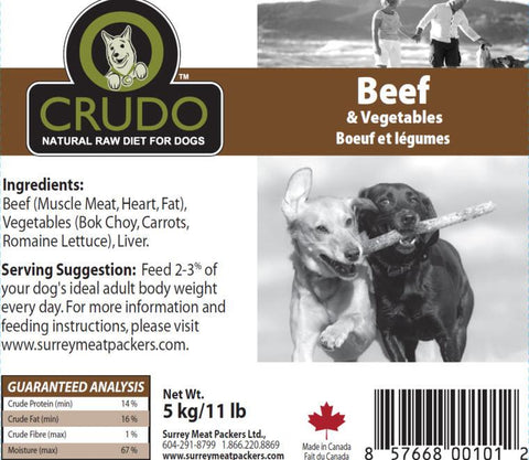 Crudo Beef & Vegetables  20 or 40 x 1.1 Lb tubes