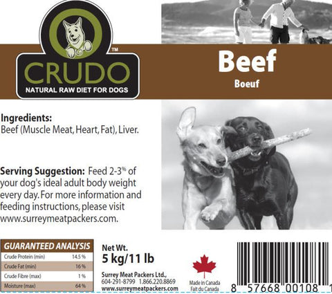 Crudo Plain Beef  500 gram tubes - Naturally Urban Pet Food Delivery
