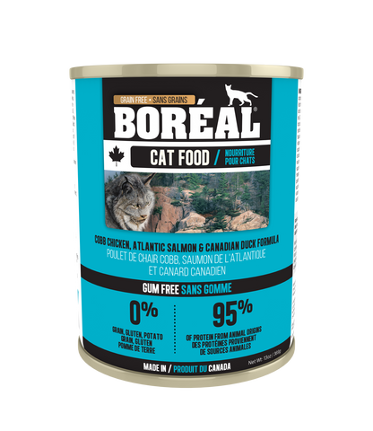 Boreal  Cobb Chicken  Canadian Duck  Atlantic Salmon for cats 12 x 14 oz. cans