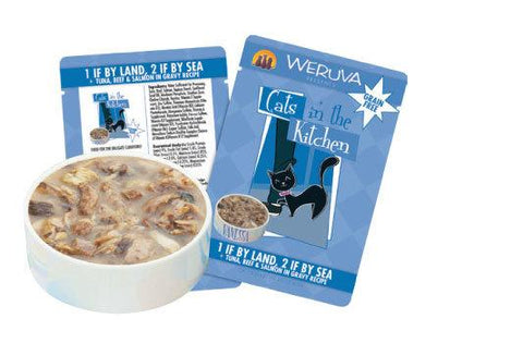 Weruva BFF -1 If By Land  2 If By Sea- Tuna  Beef & Salmon in Gravy Recipe 12 x 3 oz Pouches (Min 2 bag purchase or with another item)