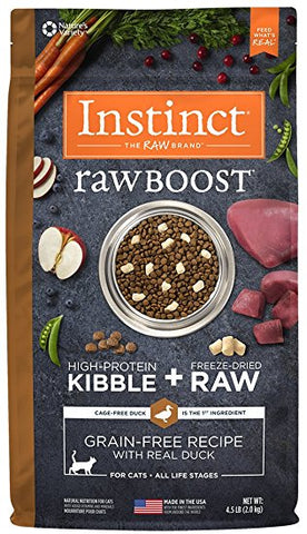 Nature's Variety Instinct Raw Boost Grain free  for cats Duck Meal Kibble 4.4 lbs. bag