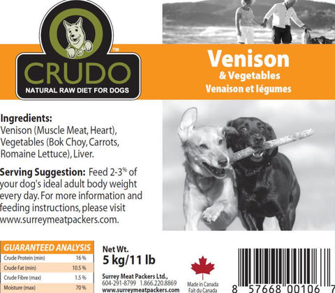 Crudo Venison & Vegetables  20 or 40 x 1.1 Lb tubes