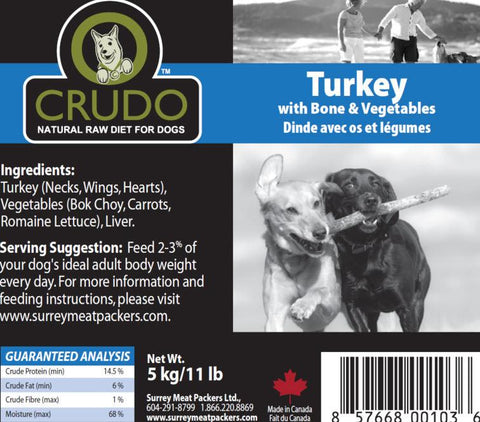 Crudo Turkey with Bone & Vegetables  20 or 40 x 1.1 Lb tubes