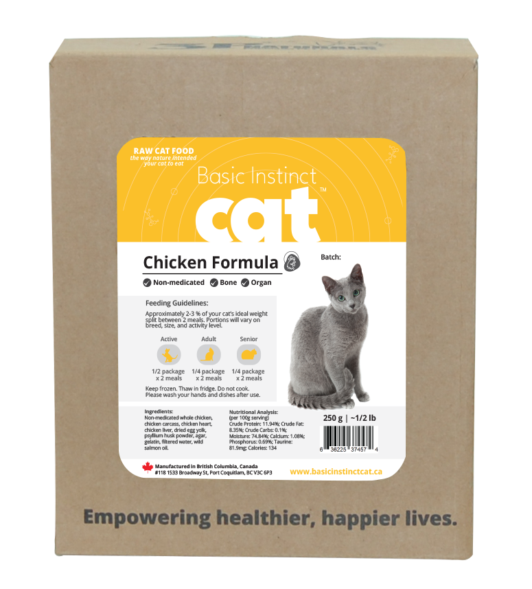3P naturals - Basic Instinct - Non-Medicated Chicken for Cats 5 x 250 grams