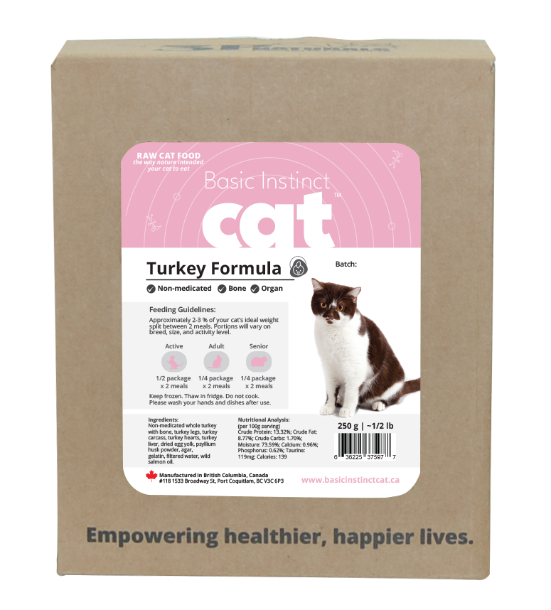 3P naturals - Basic Instinct - Non-Medicated Turkey for Cats Bone In 5 x 250 grams
