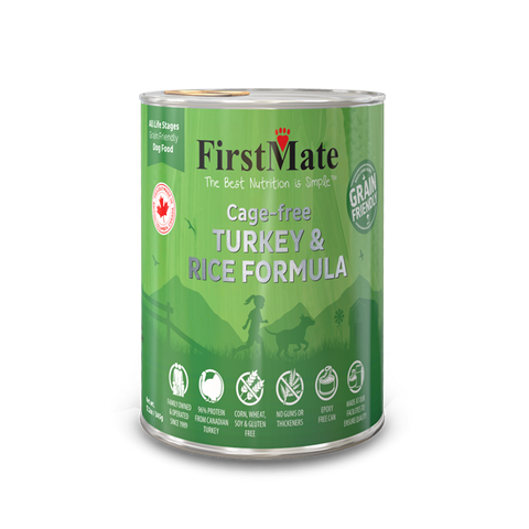 FirstMate's Cage free Turkey and Rice for Dogs 12  x 12oz Cans - Naturally Urban Pet Food Delivery